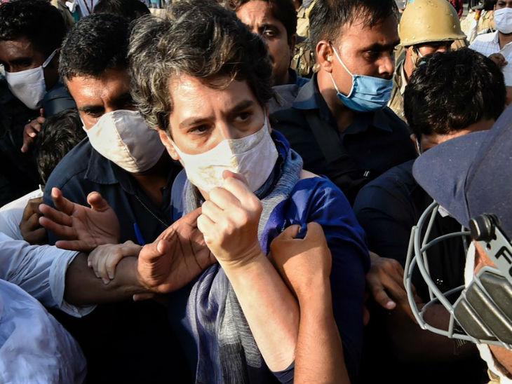 हाथरस जाते समय नोएडा बॉर्डर पर पुरुष पुलिसकर्मी ने प्रियंका गांधी का कुर्ता खींचा, एक दिन पहले तृणमूल कांग्रेस की महिला नेताओं से भी बदतमीजी की थी|उत्तरप्रदेश,Uttar Pradesh - Dainik Bhaskar