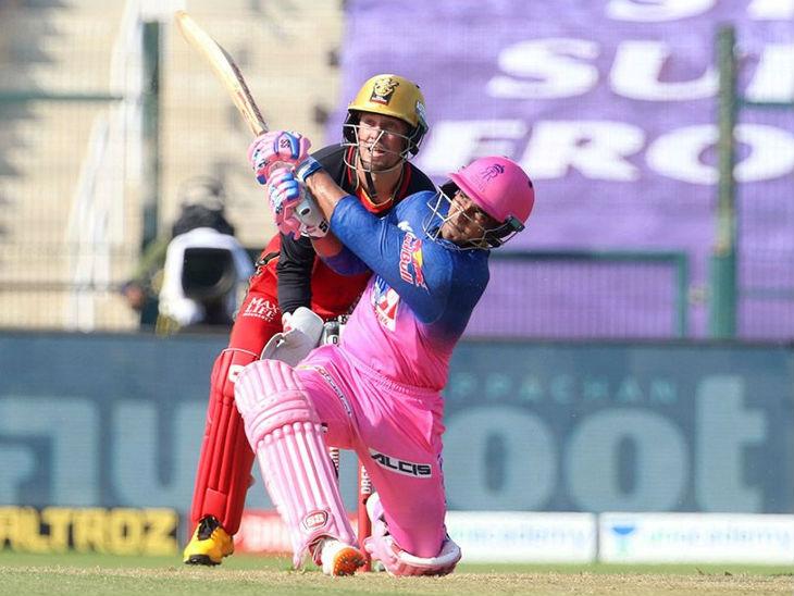 राजस्थान रॉयल्स के महिपाल लोरमोर ने 47 रन बनाते हुए पारी को संभाला।