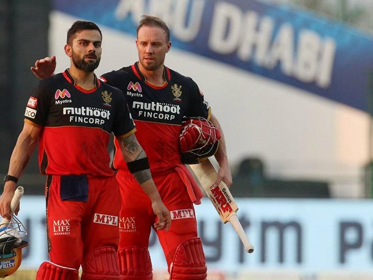 बेंगलुरु को मैच जिताने के बाद कप्तान विराट कोहली और एबी डिविलियर्स की जोड़ी।