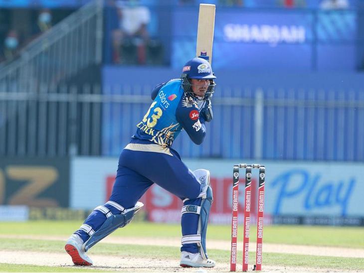 मुंबई के लिए क्विंटन डिकॉक ने 67 रन की पारी खेल टीम को मजबूत स्कोर तक पहुंचाया।