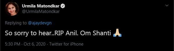 Urmila writes, 'It's too bad to hear, Anil in Rest in Peace.  Om Shanti '