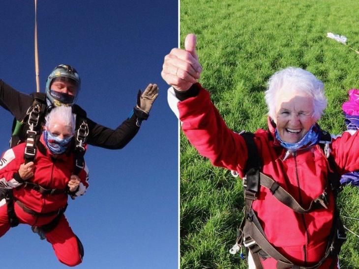 90 साल की पेट्रीशिया बेकर ने अपना जन्मदिन मनाने के लिए 15,000 फीट ऊंचाई से की स्काईडाइविंग, वे रोज सुबह 50 सिट अप्स को मानती हैं अपना फिटनेस मंत्र|लाइफस्टाइल,Lifestyle - Dainik Bhaskar