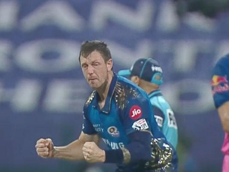 जेम्स पैटिसंन की बॉल पर पोलार्ड ने कैच लिया था। विकेट के बाद इस तरह खुश नजर आए तेज गेंदबाज।