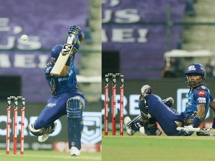 मुंबई इंडियंस के बल्लेबाज हार्दिक पंड्या राजस्थान रॉयल्स के तेज गेंदबाज जोफ्रा आर्चर की बॉल पर खुदको बचाते हुए। - Dainik Bhaskar