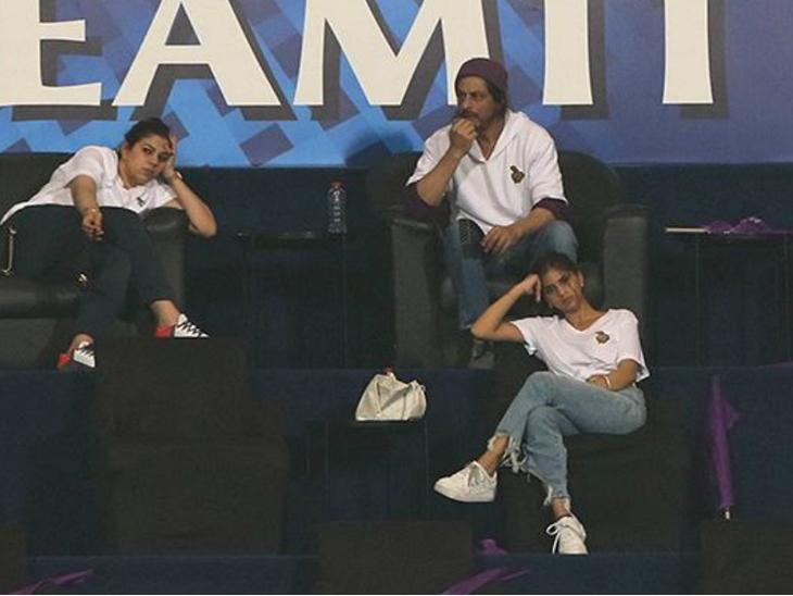 वॉटसन की पारी के दौरान टेंशन में नजर आए शाहरुख खान और सुहाना खान।