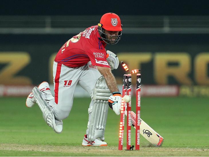 पंजाब के ग्लेन मैक्सवेल का खराब फॉर्म इस मैच में जारी रहा। वे 7 रन बनाकर रन आउट हुए।