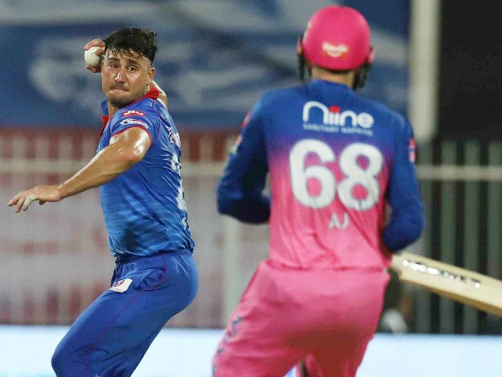 दिल्ली के ऑलराउंडर मार्कस स्टोइनिस बॉलिंग के दौरान काफी आक्रामक नजर आए। स्टोइनिस ने 2 विकेट लिए और बल्लेबाजी में भी 39 रन की शानदार पारी खेली।
