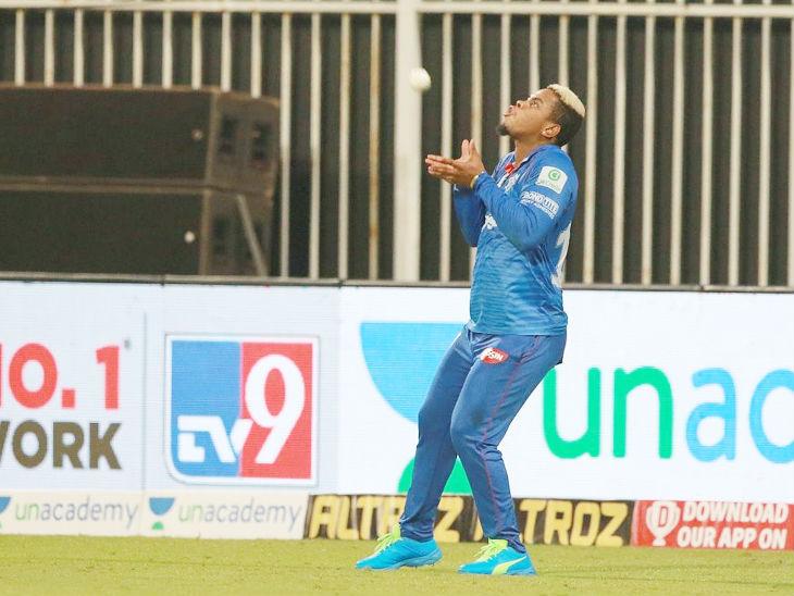 हेटमायर ने राजस्थान रॉयल्स के संजू सैमसन का कैच लपका। संजू 9 बॉल पर 5 रन ही बना सके।