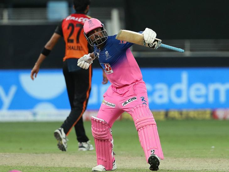 राहुल तेवतिया ने 45 रन की पारी खेलकर हैदराबाद से जीत छीन ली।