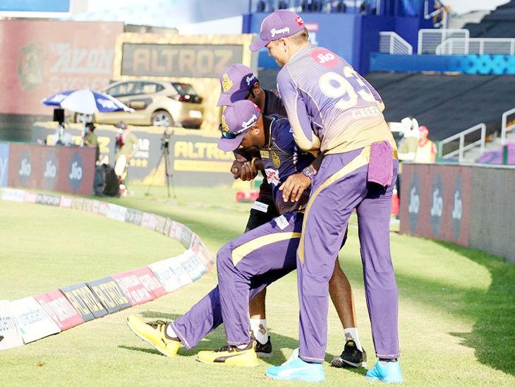 कोलकाता के ऑलराउंडर आंद्रे रसेल चोटिल होकर मैच से बाहर हो गए।