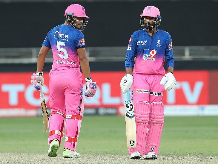 राजस्थान की जीत के हीरो रियान पराग और राहुल तेवतिया ने 6वें विकेट के लिए नाबाद 85 रन की पार्टनरशिप की।