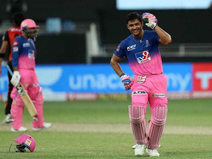 छक्का लगाकर राजस्थान को जीत दिलाने के बाद रियान पराग ने डांस कर खुशी का इजहार किया।
