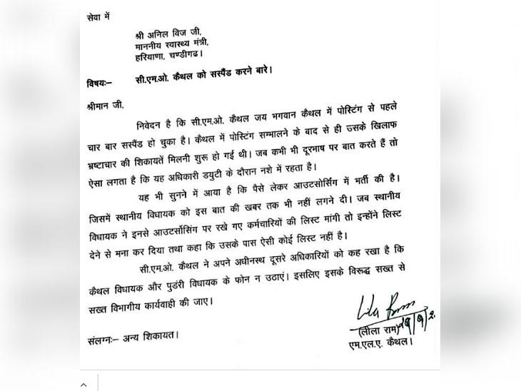 विधायक लीला राम गुर्जर की तरफ से सेहत मंत्री अनिल विज को लिखा गया पत्र।