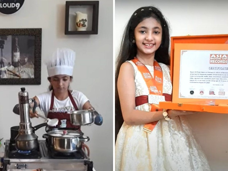 सान्वी एम प्राजित ने 1 घंटे में बनाई 33 डिश, सबसे कम उम्र में इतने पकवान बनाने वाली इस बच्ची का नाम एशिया और इंडिया बुक ऑफ वर्ल्ड रिकॉर्ड में दर्ज हुआ|लाइफस्टाइल,Lifestyle - Dainik Bhaskar