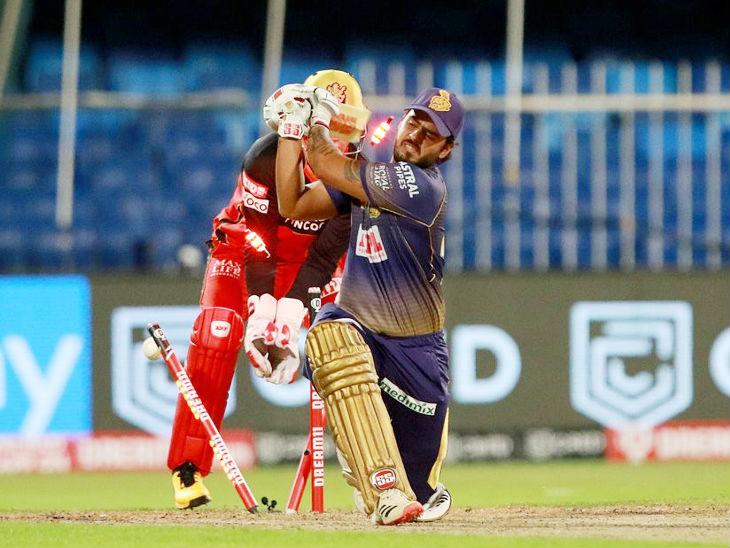 कोलकाता के नीतीश राणा भी वाशिंगटन सुंदर की बॉल पर क्लीन बोल्ड हुए। उन्होंने 14 बॉल पर 9 रन बनाए।