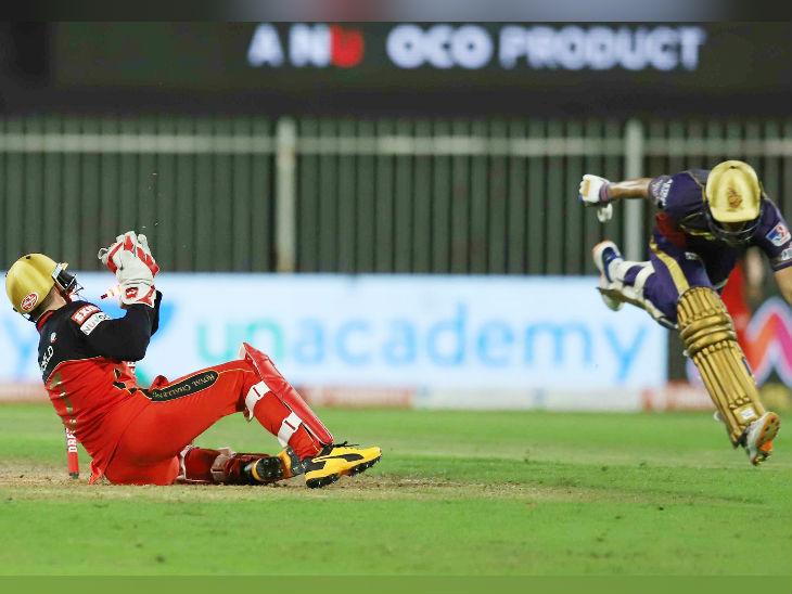 कोलकाता के ओपनर शुभमन गिल 34 रन बनाकर पवेलियन लौटे। इसुरु उडाना के थ्रो पर विकेटकीपर एबी डिविलियर्स ने उन्हें रनआउट किया।