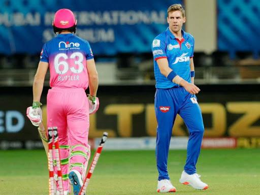 Jos Buttler scored 22 runs off 9 balls in the match.  Enrich Nortze took 2 wickets for 33 runs.