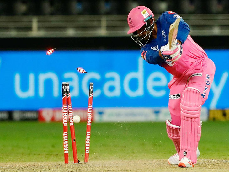 Robin Uthappa scored 32 off 27 balls.  He was bowled clean by Nortje.