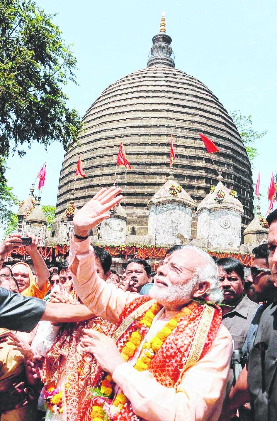 PM Modi in the temple of Kamakhya Devi.