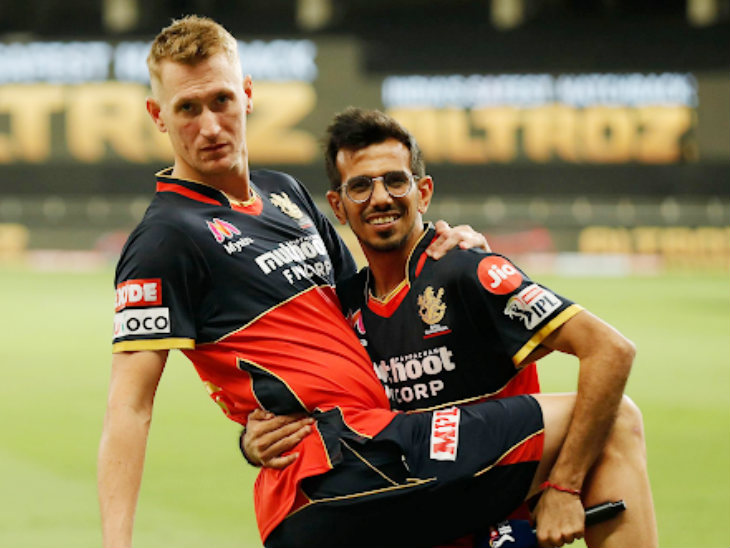 Chris Morris and Yuzvendra Chahal in a mood for fun.