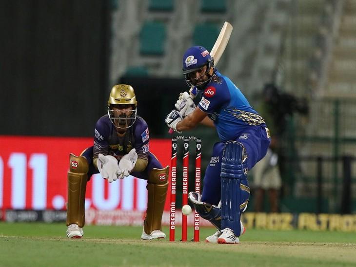 मुंबई इंडियंस के कप्तान रोहित शर्मा ने कोलकाता नाइटराइडर्स के खिलाफ 36 गेंद पर 35 रन बनाए। - Dainik Bhaskar