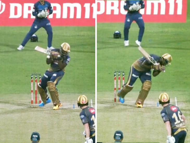 मुंबई के तेज गेंदबाज जसप्रीत बुमराह की बाउंसर पर केकेआर के आंद्रे रसेल लड़खड़ा गए।