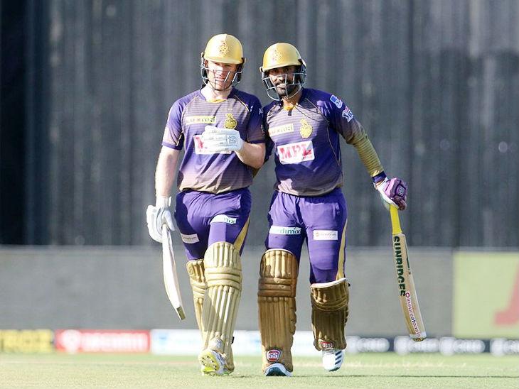 कोलकाता के कप्तान इयोन मॉर्गन और पूर्व कप्तान दिनेश कार्तिक ने 6वें विकेट के लिए 58 रन की पार्टनरशिप की।
