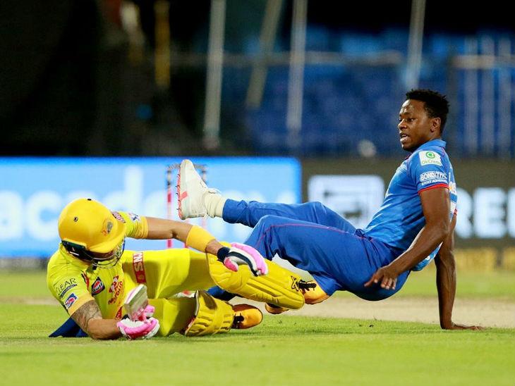 In the match, Chennai Super Kings opener Faf du Plessis collided with Delhi bowler Kagiso Rabada while taking runs.