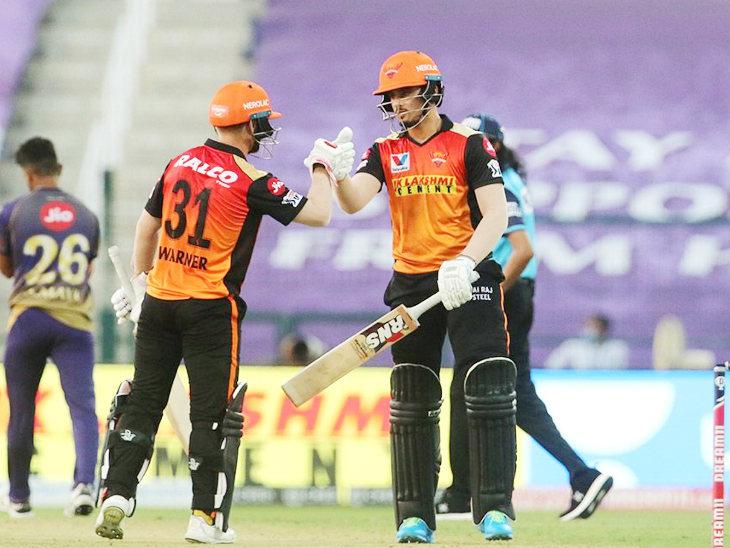 वॉर्नर ने अब्दुल समद के साथ 22 बॉल 37 रन की पार्टनरशिप कर टीम को टारगेट के पास तक पहुंचाया।