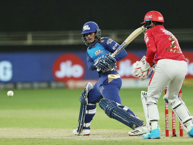 मैच में मुंबई के लिए क्विंटन डिकॉक ने 43 बॉल पर 53 रन की पारी खेली। उन्होंने मुंबई के लिए लगातार तीसरी फिफ्टी लगाकर सचिन तेंदुलकर की बराबरी की।