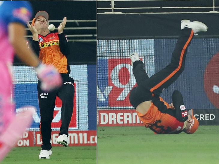 हैदराबाद के कप्तान डेविड वॉर्नर ने रियान पराग का शानदार कैच पकड़ा।