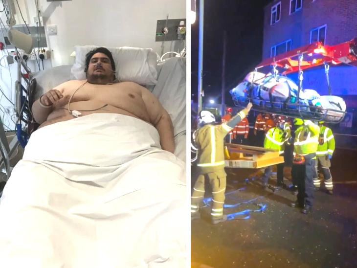 317 किलो के जैसन को घर से निकालने के लिए क्रेन का सहारा लिया गया, 7 घंटे की मशक्कत के बाद निकाला गया; 5 साल से बाहर नहीं निकला|लाइफ & साइंस,Happy Life - Dainik Bhaskar