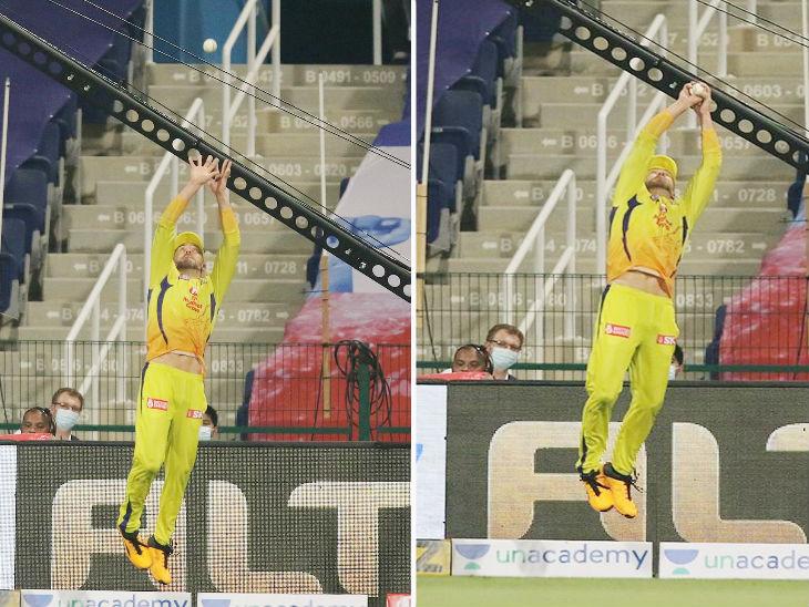 चेन्नई सुपर किंग्स के फाफ डु प्लेसिस ने मुंबई इंडियंस के खिलाफ एक ही ओवर में दो शानदार कैच पकड़े और मुंबई को बड़ा स्कोर बनाने से रोक दिया।