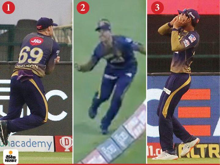कोलकाता के लोकी फर्ग्यूसन ने इस सीजन में अपने पहले ही मैच में एक शानदार कैच लिया। उन्होंने हैदराबाद के अब्दुल समद का महत्वपूर्ण कैच पकड़ा।