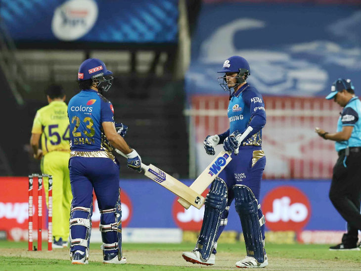 क्विंटन डिकॉक और ईशान किशन ने 116 रन की नाबाद साझेदारी की। यह 2018 के बाद मुंबई की ओर से पहले विकेट के लिए शतकीय साझेदारी है।