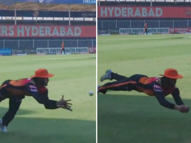 IPL के सबसे बेहतरीन फील्डरों में से एक हैदराबाद के मनीष पांडे ने शानदार कैच लिया। उन्होंने ईशान किशन को वापस पवेलियन भेज दिया।