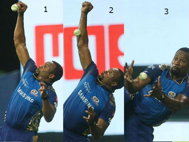 मुंबई के कीरोन पोलार्ड ने राजस्थान के जोस बटलर का कैच लिया।