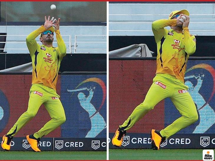 चेन्नई के फाफ डु प्लेसिस ने एक बार फिर बाउंड्री पर लाजवाब कैच पकड़ा।
