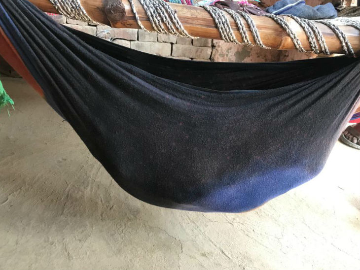 Similar cradles are made for children in villages.  Both the ends of a cloth are tied and the child is placed inside it.