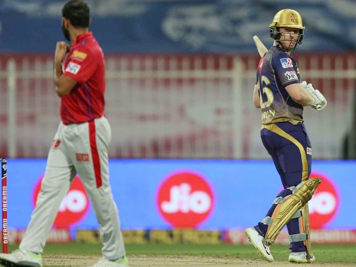 कोलकाता के कप्तान इयोन मॉर्गन ने 25 बॉल पर 40 रन बनाए। उन्होंने 5 चौके और 2 छक्के लगाए।
