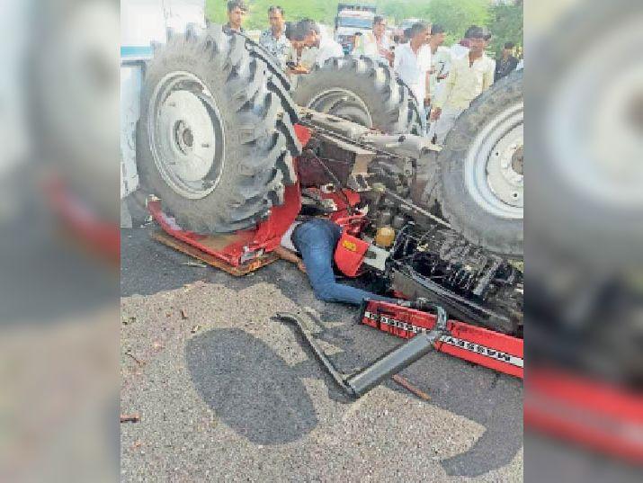 तेज रफ्तार बस ने सड़क किनारे खड़े ट्रैक्टर को टक्कर मारी, दबने से युवक की मौत|बाड़मेर,Barmer - Dainik Bhaskar