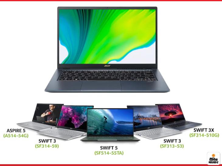 एसर ने 11th जनरेशन के एक साथ 5 लैपटॉप लॉन्च किए, 18 घंटे तक बैटरी बैकअप मिलेगा; शुरुआती कीमत 54999 रुपए|टेक & ऑटो,Tech & Auto - Dainik Bhaskar