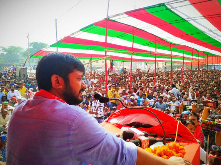 महागठबंधन के लिए चुनावी सभा करते कन्हैया कुमार।