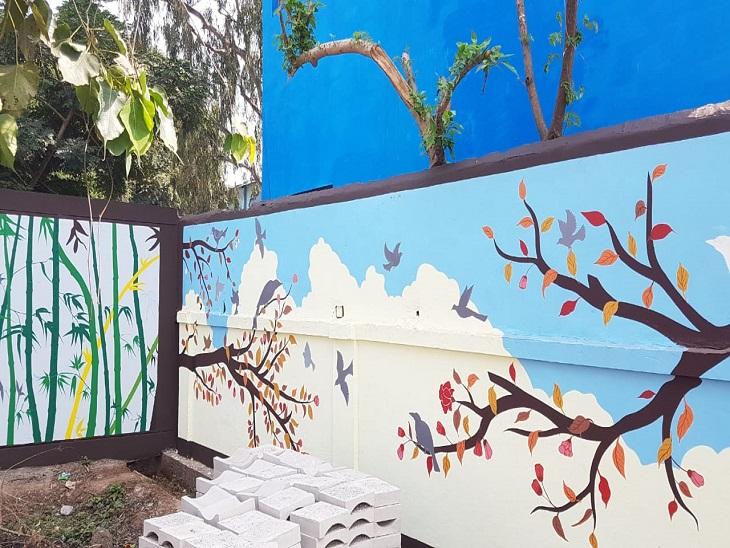 दीवारों को थ्री डी पेंटिंग से सजाया जा रहा है। आने वाले दिनों में यह सेल्फी जोन बनने वाली हैं।
