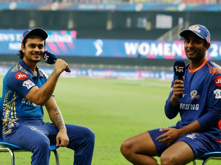 मैच के बाद इंटरव्यू के दौरान ईशान किशन और जयंत यादव।
