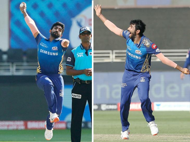 मुंबई इंडियंस के तेज गेंदबाज जसप्रीत बुमराह ने दिल्ली के 3 बल्लेबाजों को आउट किया। सीजन में कुल 23 विकेट लेकर वे टॉप विकेट-टेकर बन गए हैं। - Dainik Bhaskar