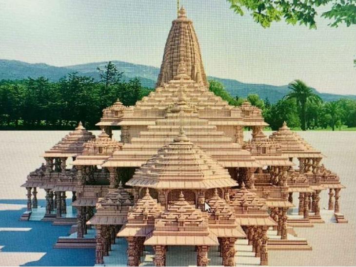 प्रस्तावित राम मंदिर का मॉडल।
