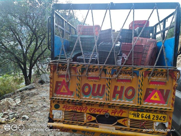 पिकअप से बरामद हुई अवैध शराब की पेटियां - Dainik Bhaskar