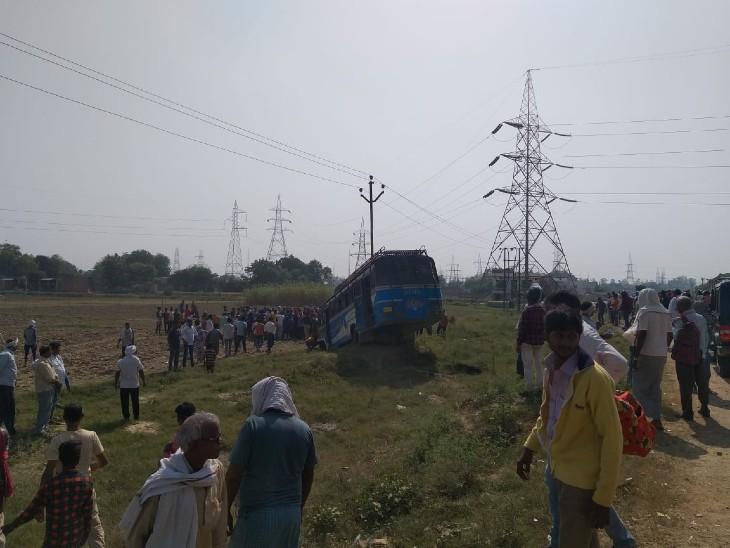 वाराणसी में गाय को बचाने में अनियंत्रित बसखाई में गयी, आधा दर्जन लोग घायल|वाराणसी,Varanasi - Dainik Bhaskar