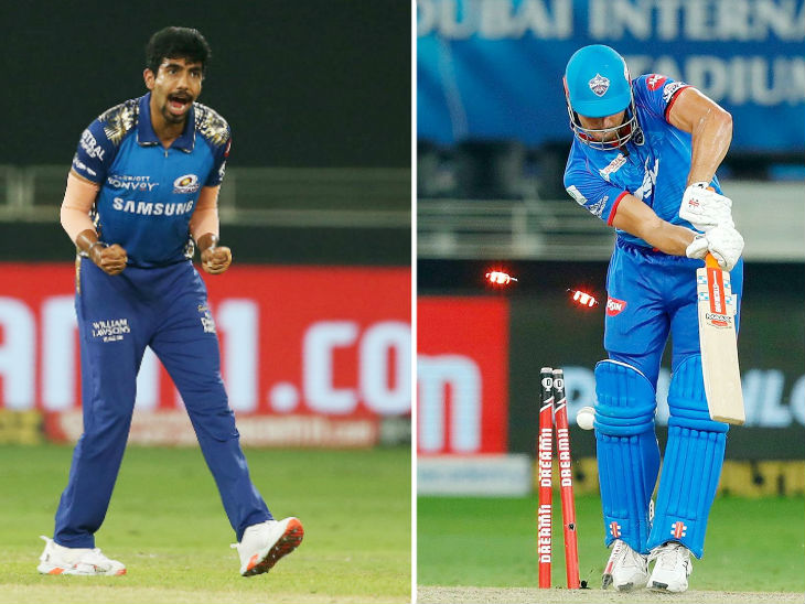Mumbai Indians fast bowler Jasprit Bumrah took 4 wickets for 14 runs in 4 overs.  Bumrah bowled clean to Marcus Stoinis.  Stoinis scored 65 runs.